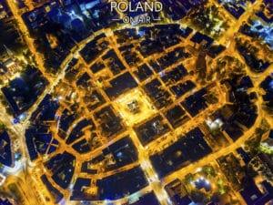 Gliwice ON AIR nocą – fotoobraz na płótnie z kolekcji SILESIA ON AIR