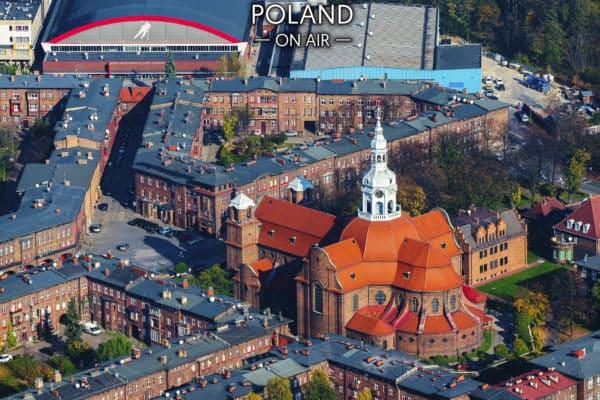 Katowice. Centrum Nikiszowca z lotu ptaka – fotoobraz na płótnie z kolekcji SILESIA ON AIR