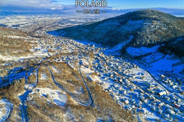 Szczyrk zimą z lotu ptaka fotoobraz na płótnie SILESIA ON AIR