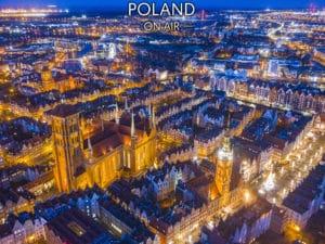 Gdańsk z lotu ptaka nocą fotoobraz POLAND ON AIR