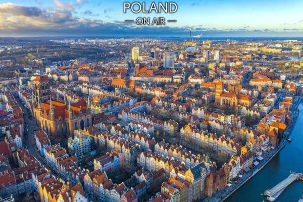 Kolorowy Gdańsk z lotu ptaka - fotoobraz