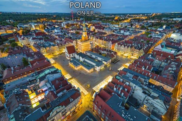 Poznań z lotu ptaka -rynek. Fotoobraz na płótnie