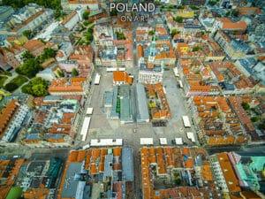 Poznań z lotu ptaka - rynek za dnia - fotoobraz
