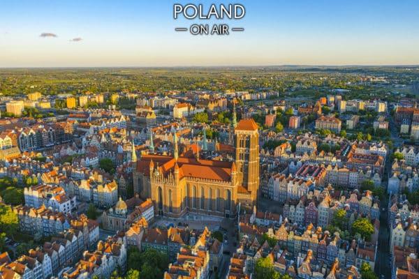 Centrum Gdańska z lotu ptaka - fotoobraz na płótnie