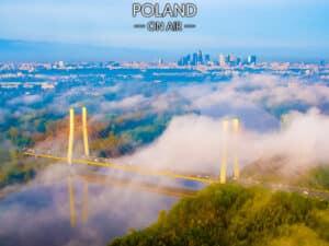 Warszawa we mgle most siekierkowski fotoobraz POLAND ON AIR