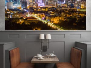 Warszawa z lotu ptaka centrum nocą – fotoobraz na płótnWarszawa z lotu ptaka centrum nocą – fotoobraz na płótnie POLAND ON AIRie POLAND ON AIR