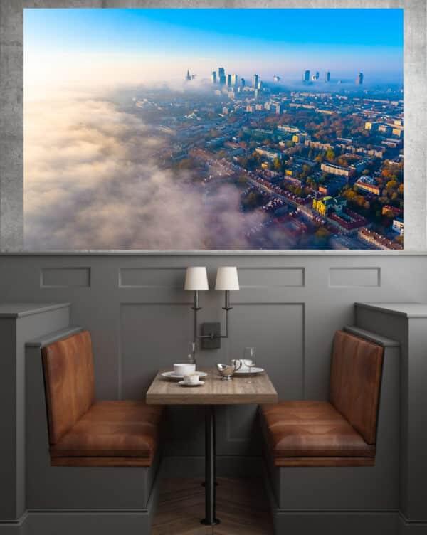 Warszawa z lotu ptaka we mgle – fotoobraz na płótnie POLAND ON AIR