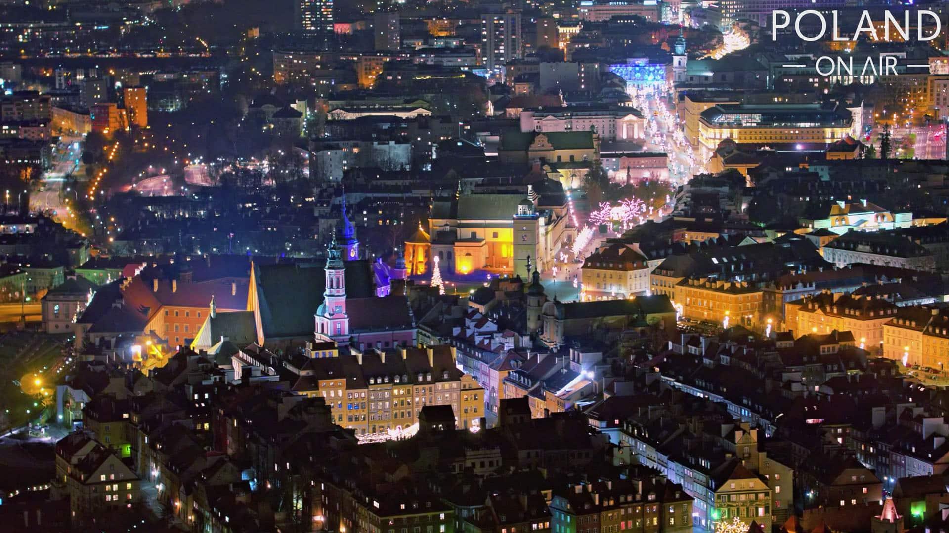 Warsaw by night warszawa dron